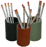 reptile-grain leather pen and pencil holders, shown in hunter, luggage and jade