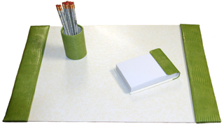 reptile-grain leather medium 3 piece desk set, shown in apple green american lizard