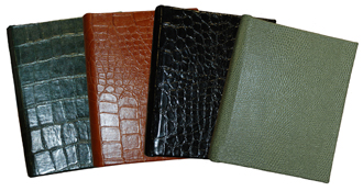 reptile-grain leather 6 x 7 address books, shown in hunter, luggage, black and jade