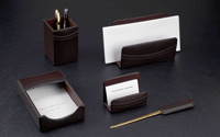 brown leather five piece desk accessory set