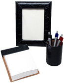 Medium 3-Piece Reptile-Texture Leather Desk Set