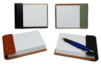 black, jade, luggage and hunter reptile-texture leather notepad holders