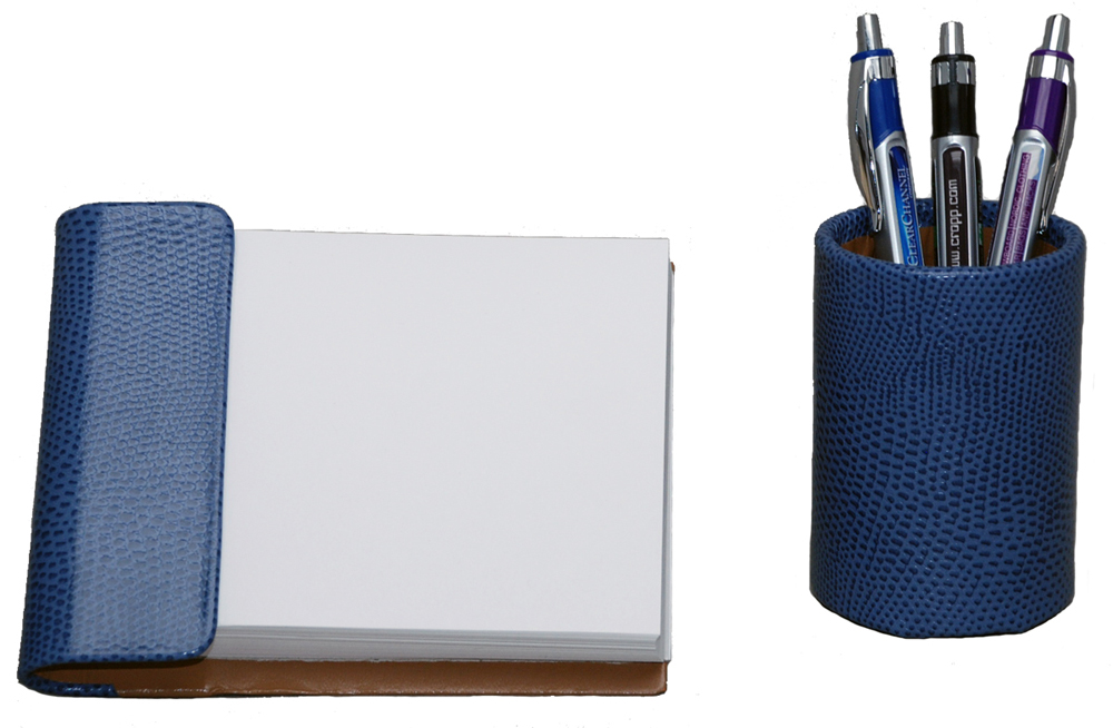 2 Piece Reptile Grain Leather Desk Accessories Set With Free In The Continental United States
