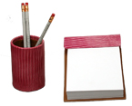 pink leather desk accessories set