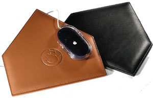 black and tan leather baseball home plate mouse pads