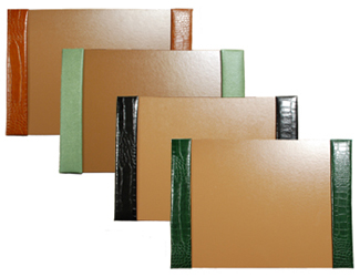 crocodile-grain leather desk pads, shown in luaggage, jade, black and hunter leather