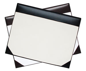 black vinyl desk pad with cream paper and Burgundy pad with white paper
