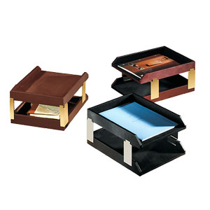 stacking double document trays, shown in black, brown and Burgundy