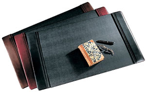 leather desk pads, shown in black, brown and Burgundy