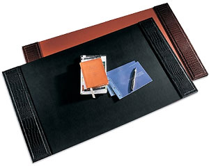 crocodile-grain leather desk pads, shown in black and brown