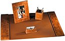 tan distressed leather desk set