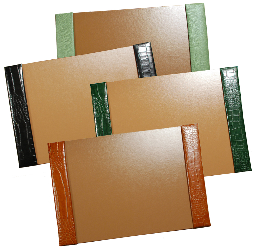 leather desk pads shown in jade pebble lizard black green