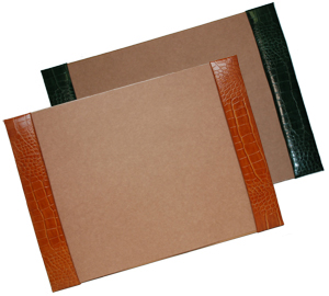 crocodile-grain leather desk pads, shown in luggage and hunter