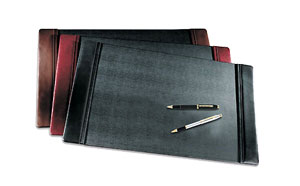small leather desk pads, shown in black, brown and Burgundy
