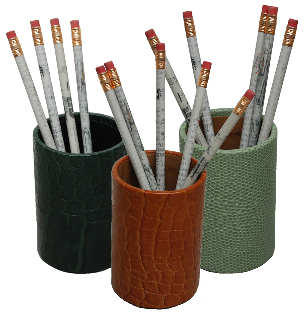 Reptile Grain Leather Pen And Pencil Holder
