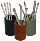 reptile-grain leather pen and pencil holders