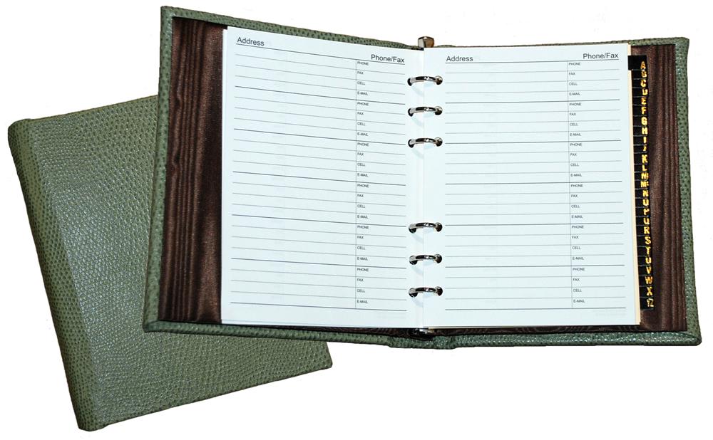 """Reptile-Grain Leather 6"""" x 7"""" Address Books"""
