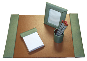 reptile-grain leather small 4 piece desk set, shown in jade pebble lizard