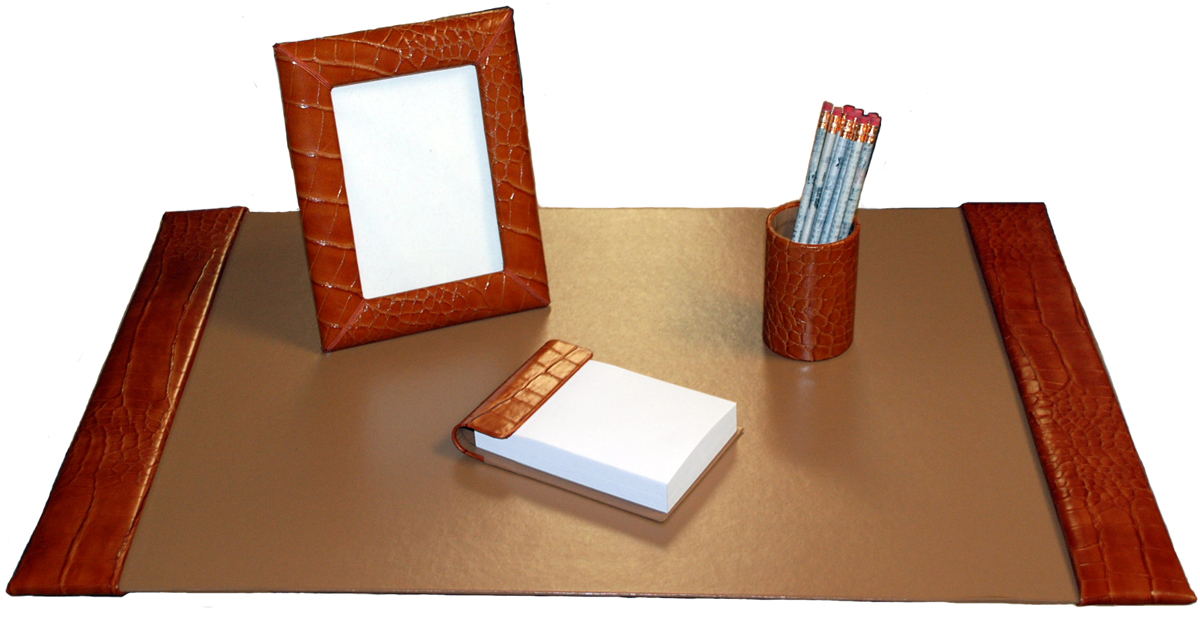 Large 4 Piece Reptile Texture Leather Desk Pad Sets With Free In The Continental United States