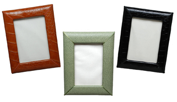 reptile-grain leather 4 x 6 picture frames, shown in luggage, jade and black