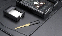 black leather 6 piece desk set