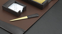 brown leather 6 piece desk set detail