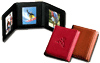red, black and tan leather mini triple photo holders